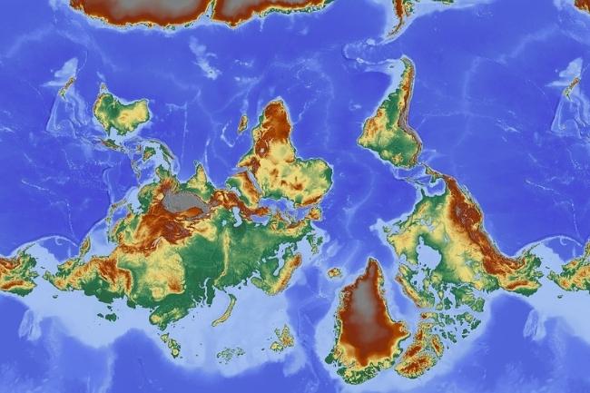 Mapa Mundi invertido Ensino de História
